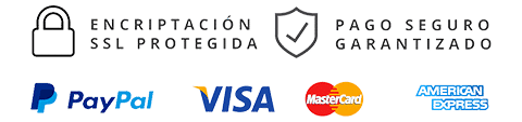Pago seguro con Visa, MasterCard y Paypal en tu compra